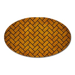 Brick2 Black Marble & Yellow Grunge Oval Magnet