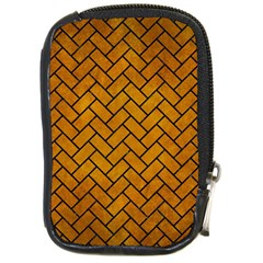 Brick2 Black Marble & Yellow Grunge Compact Camera Cases