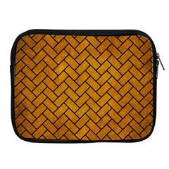 Brick2 Black Marble & Yellow Grunge Apple Ipad 2/3/4 Zipper Cases