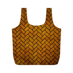 Brick2 Black Marble & Yellow Grunge Full Print Recycle Bags (m)