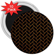 Brick2 Black Marble & Yellow Grunge (r) 3  Magnets (10 Pack)