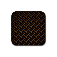 Brick2 Black Marble & Yellow Grunge (r) Rubber Square Coaster (4 Pack)
