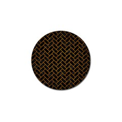 Brick2 Black Marble & Yellow Grunge (r) Golf Ball Marker (4 Pack)