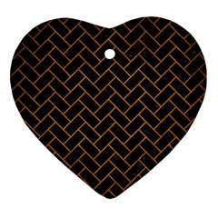 Brick2 Black Marble & Yellow Grunge (r) Heart Ornament (two Sides)