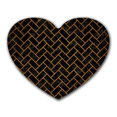 Brick2 Black Marble & Yellow Grunge (r) Heart Mousepads