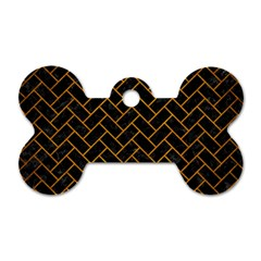 Brick2 Black Marble & Yellow Grunge (r) Dog Tag Bone (two Sides)