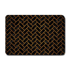 Brick2 Black Marble & Yellow Grunge (r) Small Doormat
