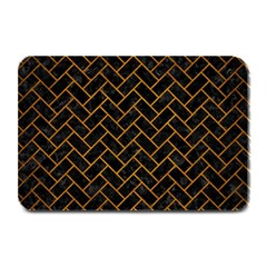 Brick2 Black Marble & Yellow Grunge (r) Plate Mats