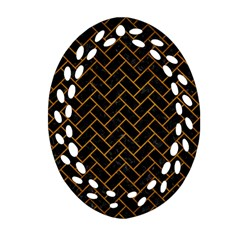 Brick2 Black Marble & Yellow Grunge (r) Oval Filigree Ornament (two Sides)
