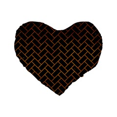 Brick2 Black Marble & Yellow Grunge (r) Standard 16  Premium Heart Shape Cushions