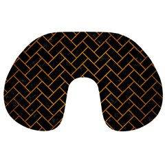 Brick2 Black Marble & Yellow Grunge (r) Travel Neck Pillows