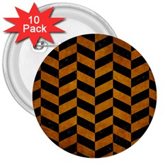 Chevron1 Black Marble & Yellow Grunge 3  Buttons (10 Pack)