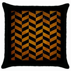 Chevron1 Black Marble & Yellow Grunge Throw Pillow Case (black)