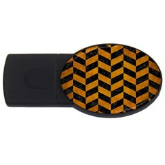 Chevron1 Black Marble & Yellow Grunge Usb Flash Drive Oval (2 Gb)