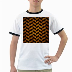 Chevron1 Black Marble & Yellow Grunge Ringer T Shirts