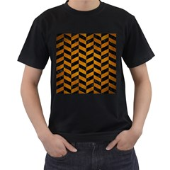 Chevron1 Black Marble & Yellow Grunge Men s T Shirt (black) (two Sided)