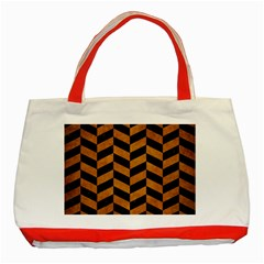 Chevron1 Black Marble & Yellow Grunge Classic Tote Bag (red)