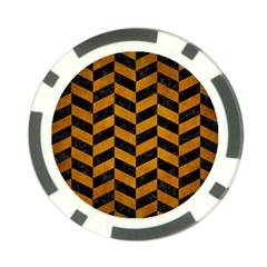 Chevron1 Black Marble & Yellow Grunge Poker Chip Card Guard