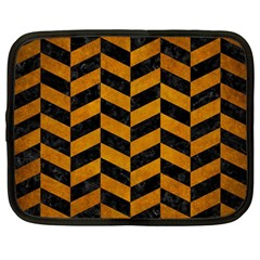 Chevron1 Black Marble & Yellow Grunge Netbook Case (large)