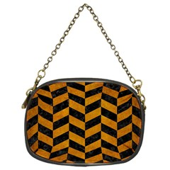 Chevron1 Black Marble & Yellow Grunge Chain Purses (two Sides)