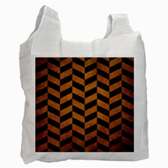 Chevron1 Black Marble & Yellow Grunge Recycle Bag (two Side)