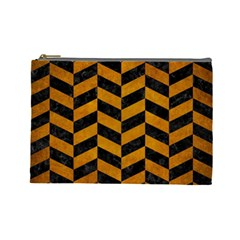 Chevron1 Black Marble & Yellow Grunge Cosmetic Bag (large)