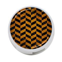 Chevron1 Black Marble & Yellow Grunge 4 Port Usb Hub (one Side)