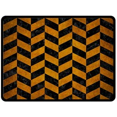 Chevron1 Black Marble & Yellow Grunge Fleece Blanket (large)