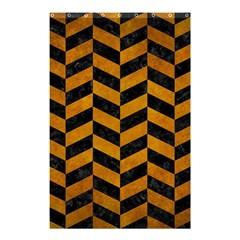 Chevron1 Black Marble & Yellow Grunge Shower Curtain 48  X 72  (small)