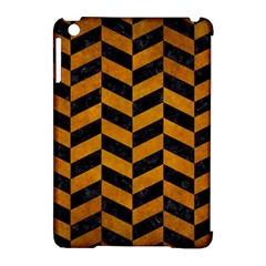 Chevron1 Black Marble & Yellow Grunge Apple Ipad Mini Hardshell Case (compatible With Smart Cover)