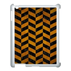 Chevron1 Black Marble & Yellow Grunge Apple Ipad 3/4 Case (white)