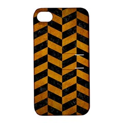 Chevron1 Black Marble & Yellow Grunge Apple Iphone 4/4s Hardshell Case With Stand