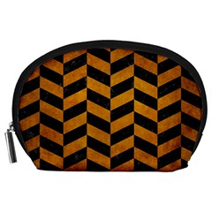 Chevron1 Black Marble & Yellow Grunge Accessory Pouches (large)