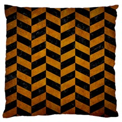 Chevron1 Black Marble & Yellow Grunge Large Flano Cushion Case (one Side)