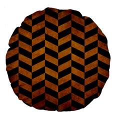 Chevron1 Black Marble & Yellow Grunge Large 18  Premium Flano Round Cushions