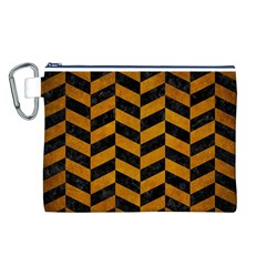 Chevron1 Black Marble & Yellow Grunge Canvas Cosmetic Bag (l)