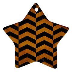 Chevron2 Black Marble & Yellow Grunge Star Ornament (two Sides)