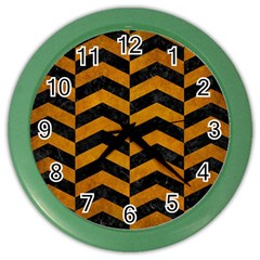 Chevron2 Black Marble & Yellow Grunge Color Wall Clocks