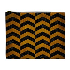 Chevron2 Black Marble & Yellow Grunge Cosmetic Bag (xl)