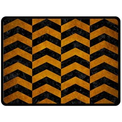 Chevron2 Black Marble & Yellow Grunge Fleece Blanket (large)