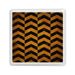 Chevron2 Black Marble & Yellow Grunge Memory Card Reader (square)