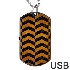 Chevron2 Black Marble & Yellow Grunge Dog Tag Usb Flash (two Sides)