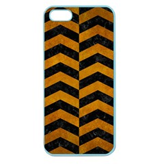 Chevron2 Black Marble & Yellow Grunge Apple Seamless Iphone 5 Case (color)