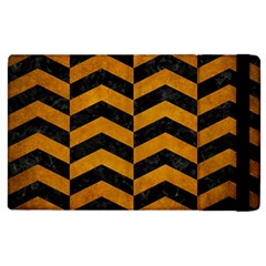 Chevron2 Black Marble & Yellow Grunge Apple Ipad 2 Flip Case