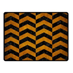 Chevron2 Black Marble & Yellow Grunge Double Sided Fleece Blanket (small)