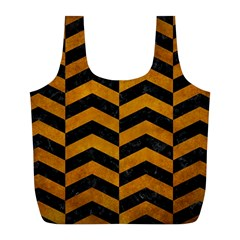 Chevron2 Black Marble & Yellow Grunge Full Print Recycle Bags (l)