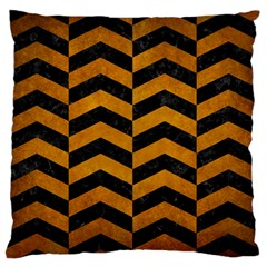 Chevron2 Black Marble & Yellow Grunge Large Flano Cushion Case (two Sides)