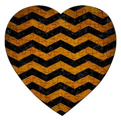 Chevron3 Black Marble & Yellow Grunge Jigsaw Puzzle (heart)