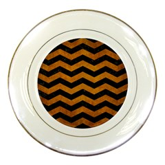 Chevron3 Black Marble & Yellow Grunge Porcelain Plates