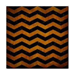 Chevron3 Black Marble & Yellow Grunge Face Towel